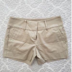 Ann Taylor twill flat front beige petite shorts